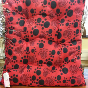 Paw Print Dog Bed, Red Black, Fleece, Pet Beds, Cat Beds, Pillow, Washable Dog Beds, Pet Supplies, Original Design, FREE SHIPPING