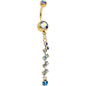 Gold Anodized Steel Tanzanite Aurora Criss Cross Dangle Belly Ring