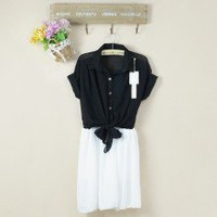 Playful Lapel Collar Two Toned Buttons Chiffon Combo Dress 2 Colors