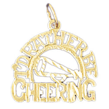 14K GOLD SAYING CHARM - CHEERING #10758