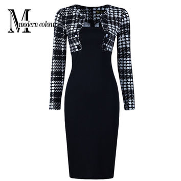 New Arrivals 2016 Women Office Dress Pencil Knee Length Dresses Fashion European Long Sleeve Plaid Patchwork Dresses Work Wear