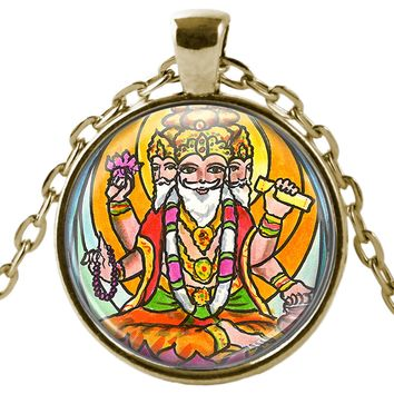 "Lord Brahma the Creator 1"" Round Pendant & Chain"
