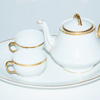 Limoges China Teapot and Cup Set, Tressemann and Vogt French Porcelain, Fine China Set, T&V Limoges, Gold Teacups, Serving Platter