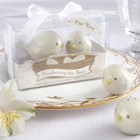 Kate Aspen Feathering the Nest Bird Salt & Pepper Shakers (White)