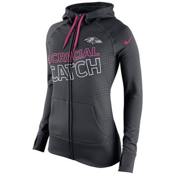 Women's Baltimore Ravens Nike Charcoal Breast Cancer Awareness KO Full-Zip Performance Hoodie