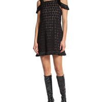 Alexis Geometric Cold-Shoulder Mini Dress, Black