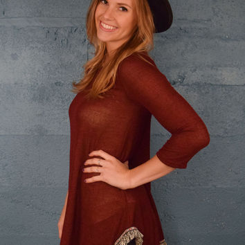 Rustic Embroidered Trim Sweater