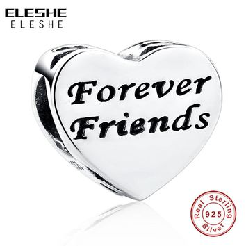 ELESHE 925 Sterling Silver Forever Friends Charms Fit Original Pandora Bracelet with Cubic Zirconia Heart Beads Jewelry Making