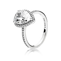 Radiant Teardrop Ring, Clear CZ