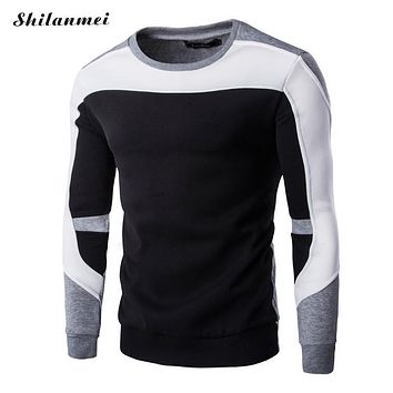 2017 New Autumn Winter sweatshirts men Casual knitwear Slim Fit O-Neck Mens Sweatshirts And Pullovers Patchwork Men clothing
