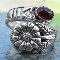 Handmade Sterling Silver Daisy Flower & gemstone Adjustable Spoon Ring (choose your gemstone)