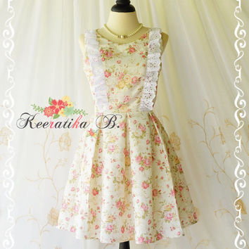 Alice In Wonderland - Alice Floral Dress Cut Off Back Tea Dress Pink Nude Floral Party Dress Wedding Bridesmaid Dress Prom Dress XS-XL