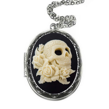 Skull Locket Necklace Day of the Dead