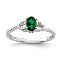 Sterling Silver Created Emerald Double Heart May Birthstone Ring