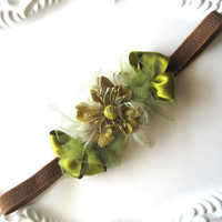 CIJ Sale 25% Off Green Floral Headband Elastic Feathers Tulle Ribbon