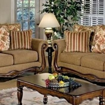 2 pc Serta upholstery Olysseus collection Brown floral fabric upholstered sofa and love seat with wood trim