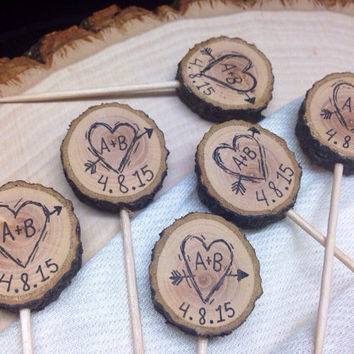 Rustic Wedding Cupcake Toppers Custom Initials & Date / Heart Arrow / Tree Slice / Bridal Shower Party Picks / Wedding Decor / Wood country