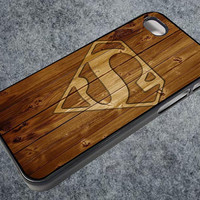 superman wood logo iPhone case, iPhone 4/4S case, iPhone 5, 5S, 5c case, Samsung S3, S4 case, Hard Plastic, Rubber