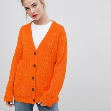 Daisy Street Boyfriend Cardigan In Cable Knit at asos.com