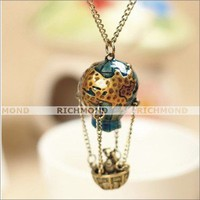 Vintage Fashion Enamel The Earth Map Fire Balloon Bear Basket Pendant Necklace
