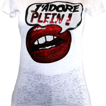White Burnout Tee with 'J'Adore Plein!' Sequin Print