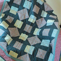 "Handmade Quilt - Lap Quilt - Sofa Throw - 43"" wide x 54"" long - Blue, Mauve, Pink, Maroon and White"