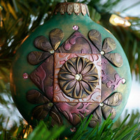 Green brocade ornament polymer clay and by littlebearstudio