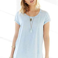 Ecote Washed Woven-Back Tee- Blue