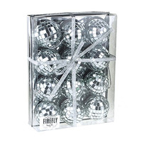Mirror Disco Balls Christmas Ornaments, Silver, 2-Inch, 12-Piece