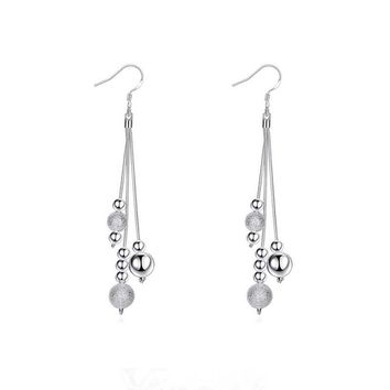 STYLEDOME Surou Western Creativity Beautiful Ornaments Fashion Silver Ornaments Earrings Beads Tassels Bijouterie