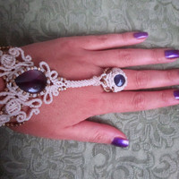 amethyst ring  bracelet, bridal  white macrame vintage wedding jewelry