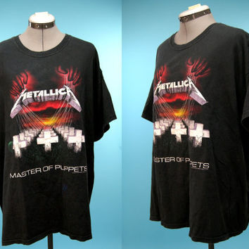 vintage METALLICA master of puppets heavy metal rocker hipster grunge band tshirt - 1990s - men's size XL
