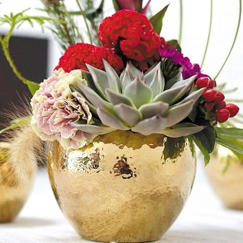 "Fame Ceramic Flower Pot in Metallic Gold - 5"" Tall x 6.25"" Wide"