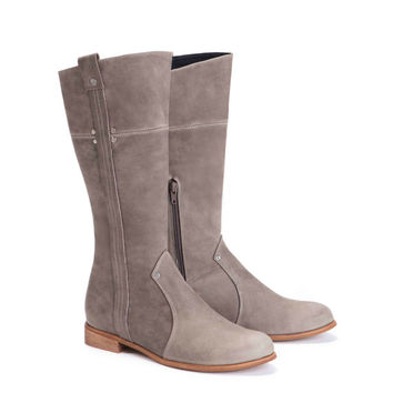 Womens Grey Leather Boots