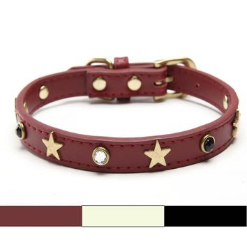 Free shipping Real Leather Adjustable necklace Studs Pet Dog Cat Collars Star diamond Extra large for Large Dog