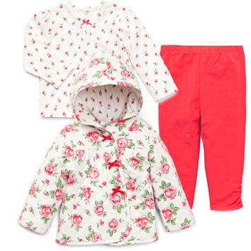 Infant Girls Red Jacket and Legging Set | Baby Girl Fall Outerwear | Little Me Baby Clothing
