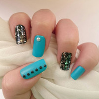 Blue Square Fake Nails / Black Glitter Artificial Nails/ Blue Fake Nails / Beaded Nails / Gel Nails / Glitter / Matte Glue On Nails /For Her