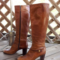 Womens Brown Leather Boots, Designer Ferragamo, Vintage 1970s Zip up Tall Riding Boots, Size 6 1/2 Narrow