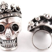 3 Pieces of Ladies Silver Iced Out Skull with Crown Adjustable Ring