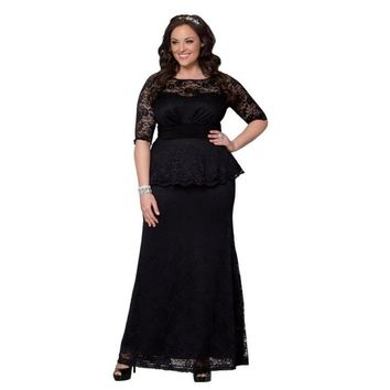 7XL Women's Plus Size Lace Peplum Gown Dresses 2016 Spring Women Black Blue Hot Pink Long Formal Dress 8  4XL 5XL 6XL