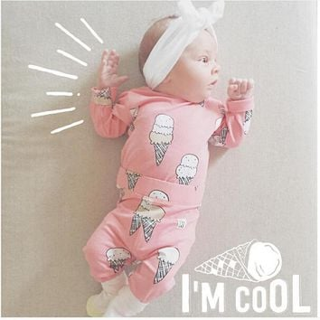 Infant Clothing 2Pcs Cute Cartoon Ice Cream Print Newborn Baby Girls Clothes Long Sleeve T-shirt Tops Pants Toddler Outfits Set
