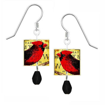 Lemon Tree Earrings with Red Northern Cardinal and Black Bead Drop