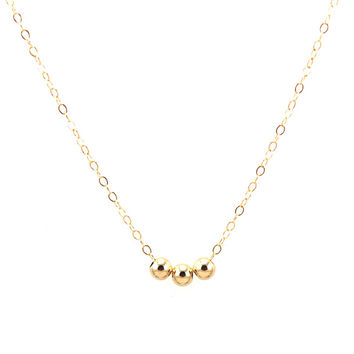 Triple Smooth Beads Necklace