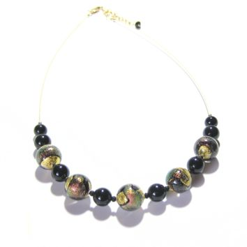 Murano Glass Black Shimmer Dichroic Chunky Ball Gold Necklace From JKC Murano
