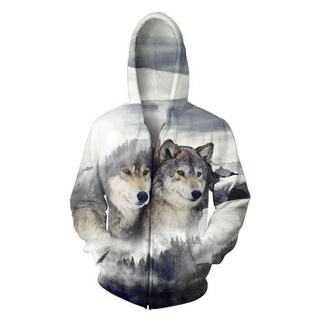2017 New 3D Wolf Print Zip Up Hooded Zipper Men Clothing Animal Tops Hoodies Sweatshirts Fashion Clothing Plus Size NQ907159