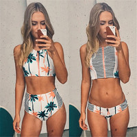 Print Floral Palm Tree Bikini Set,High Neck Tank Zipper Striped Swimsuit Padded Bra High Waist Swimwear Vintage Bathing Suit