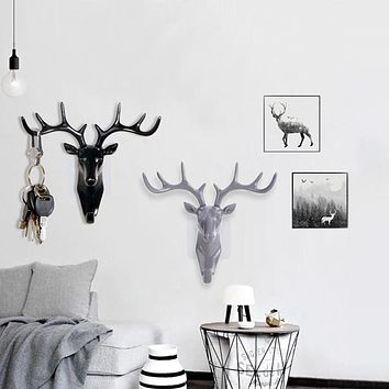 Hook Deer Head Modeling Wall Decoration Hanger Living Room Bedroom Coat Key Hooks Sticky Bathroom Kitchen Hanger Door Decor