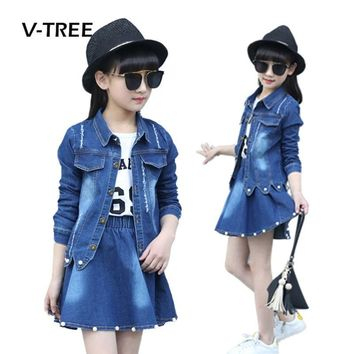 Trendy V-TREE Girls Clothing Sets Denim Jacket And Skirts Suit Sets For Girl Teenage Clothes School Kids Childrens Baby Clothes 12 10T AT_94_13