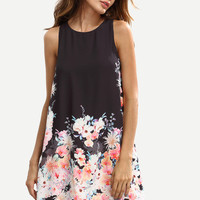 Summer Trendy multicolor Floral Sleeveless Shift Dress