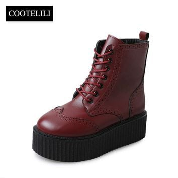 COOTELILI Women Leather Boots High Heels Platform Ankle Boots Ladies Brogue Shoes Woman British Style Lace up Black 35-39